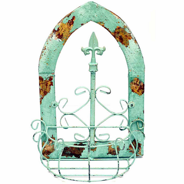 Rustic Arrow Wooden Gothic Window With 1 Basket Metal Wall Art