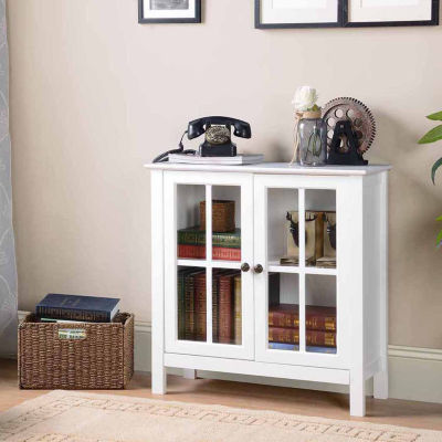 OS Home and Office Furniture Model 22600 White Glass Door Accent and Display Cabinet
