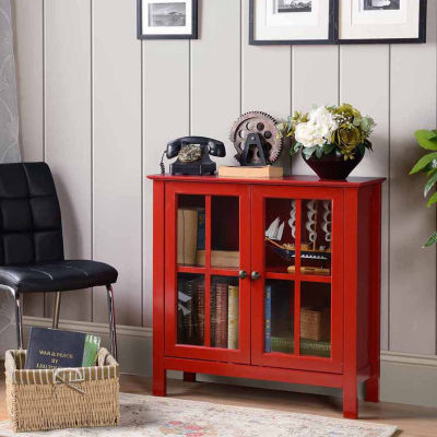 OS Home And Office Furniture Dark Red Glass Door Accent And Display Cabinet