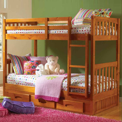 American Furniture Classics Model 2111-TTH, Solid Pine Twin/Twin Bunk Bed with Three Drawers in Honey