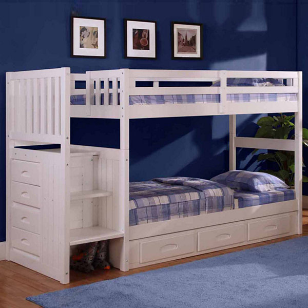 American Furniture Classics Model 0214-TTW, Solid Pine Mission Staircase Twin/Twin Bunk Bed with Seven Drawers in White