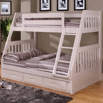 American Furniture Classics Model 0218-TFW, Solid Pine Twin/Full Bunk Bed with Three Drawers in White