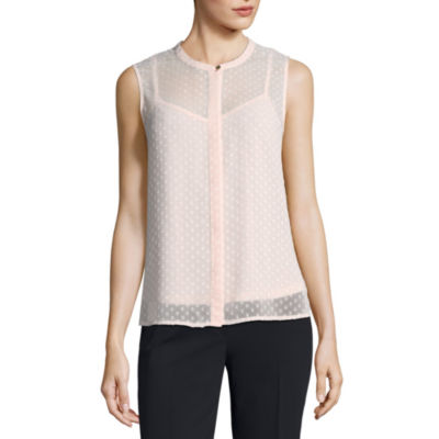 Liz Claiborne® Sleeveless Back Peplum Blouse