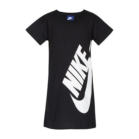 Nike Little Girls Short Sleeve Fitted Sleeve Logo T-Shirt Dress