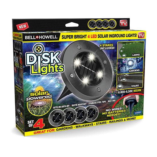 As Seen On TV Bell & Howell Disk Lights Outdoor Solar Garden Lights-Gunmetal