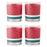 Outdoor Oasis Set of 4 Watermelon Melamine Double Old Fashioned Glasses