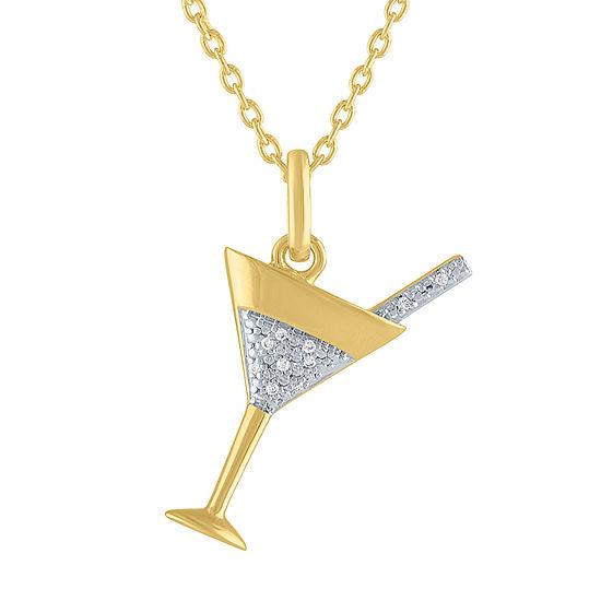 """""""Celebrate"""" Womens Diamond Accent Genuine White Diamond 14K Gold Over Silver Pendant Necklace"""