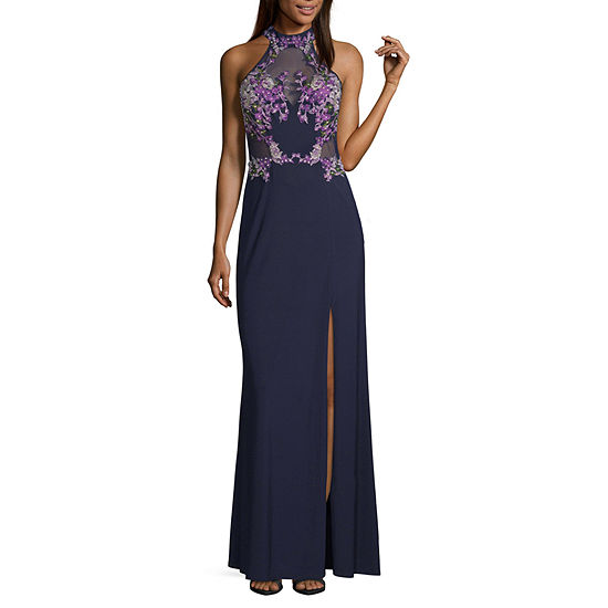 Crystal Sky Sleeveless Fitted Gown-Juniors