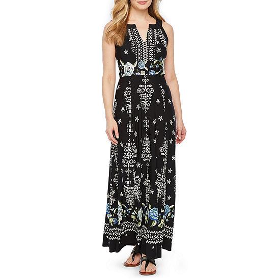 Rabbit Rabbit Rabbit Design Sleeveless Floral Puff Print Maxi Dress