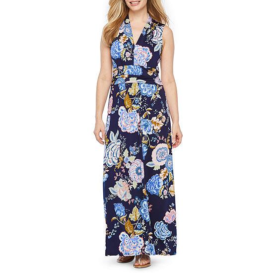Rabbit Rabbit Rabbit Design Sleeveless Floral Maxi Dress