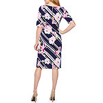 Ronni Nicole Short Sleeve Floral Puff Print Sheath Dress
