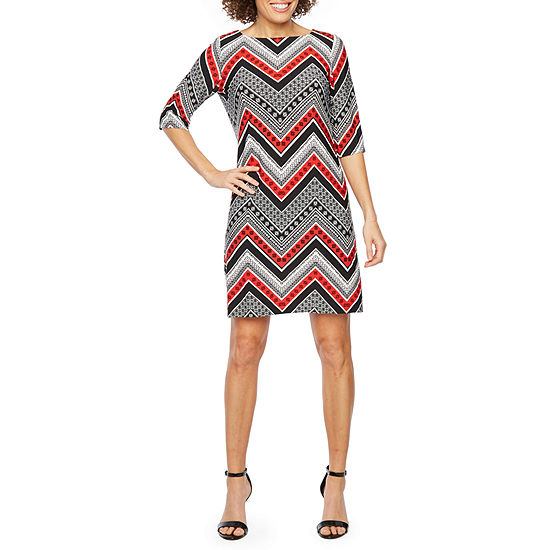 Studio 1 3/4 Sleeve Chevron Puff Print Shift Dress