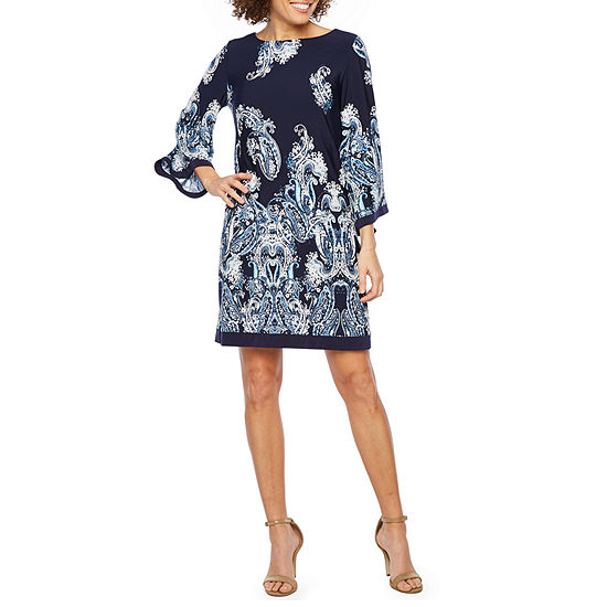 Studio 1 Long Sleeve Paisley Shift Dress