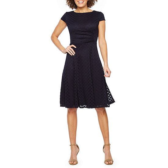 Studio 1 Short Sleeve Lace Fit & Flare Dress