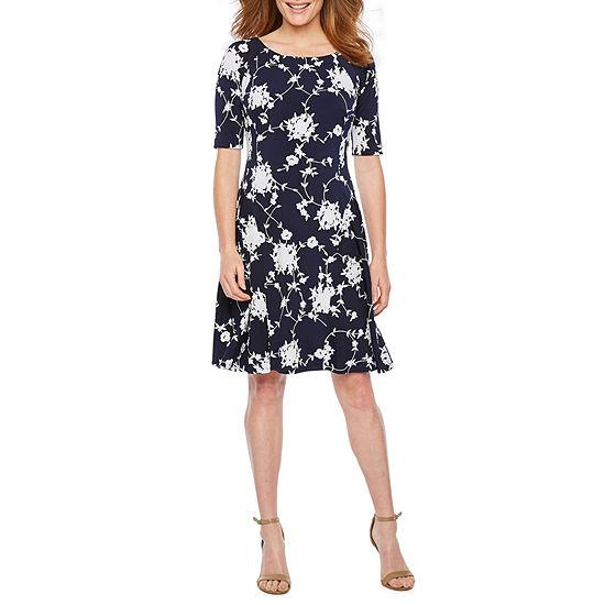 Rabbit Rabbit Rabbit Design Short Sleeve Floral Puff Print Fit & Flare Dress