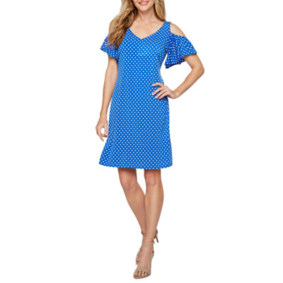 MSK Short Sleeve Cold Shoulder Dots Shift Dress