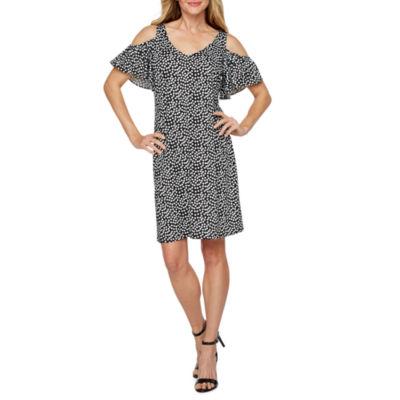 MSK Short Sleeve Cold Shoulder Dots Shift Dress