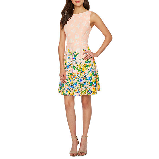 London Style Sleeveless Floral Fit & Flare Dress