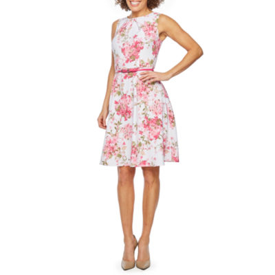 Alyx Sleeveless Floral Belted Fit & Flare Dress