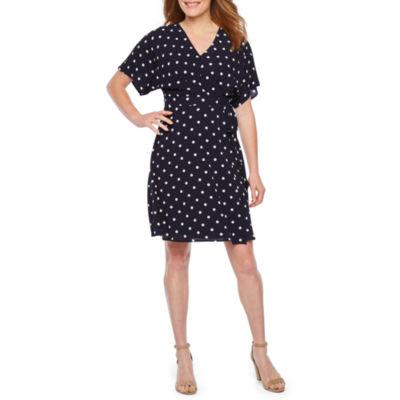 Alyx Short Sleeve Dots Wrap Dress