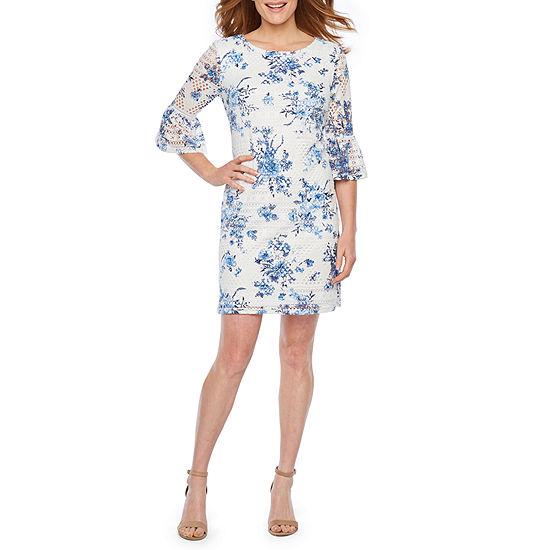 R & K Originals 3/4 Bell Sleeve Floral Lace Shift Dress