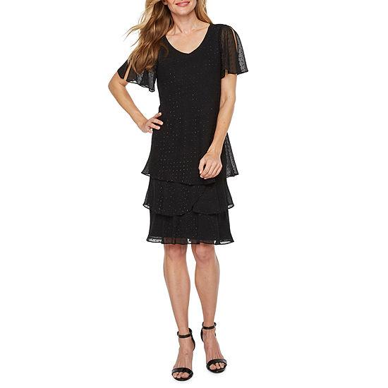 Onyx Nites Short Flutter Sleeve Tiered Shift Dress