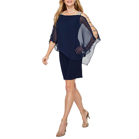 MSK 3/4 Sleeve Embellished Cape Sheath Dress
