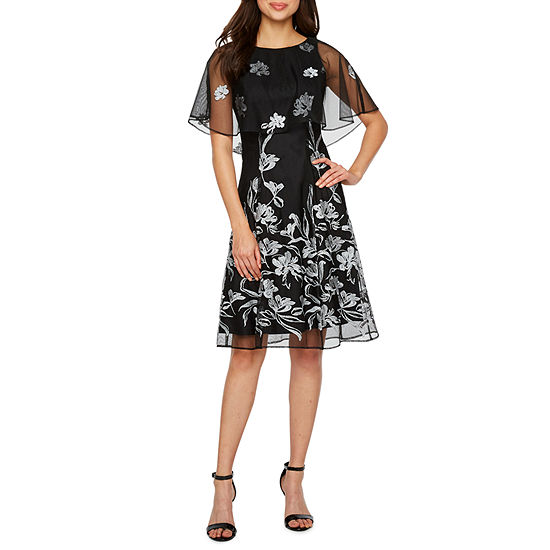 J Taylor Sleeveless Embroidered Floral Cape Fit Flare Dress