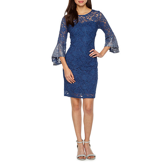 Blu Sage 3/4 Bell Sleeve Lace Sheath Dress