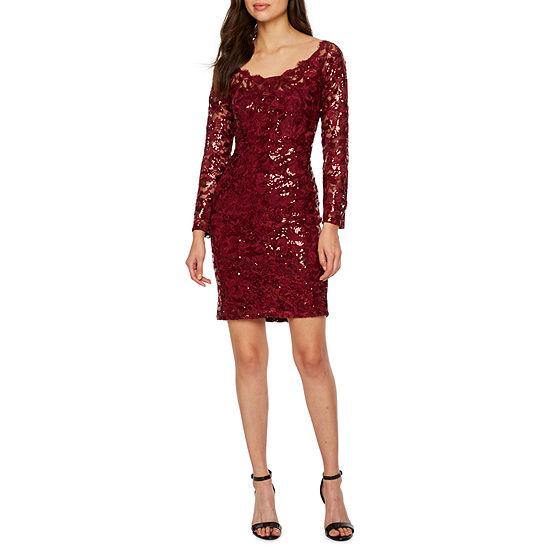 Blu Sage Long Sleeve Sequin Lace Sheath Dress