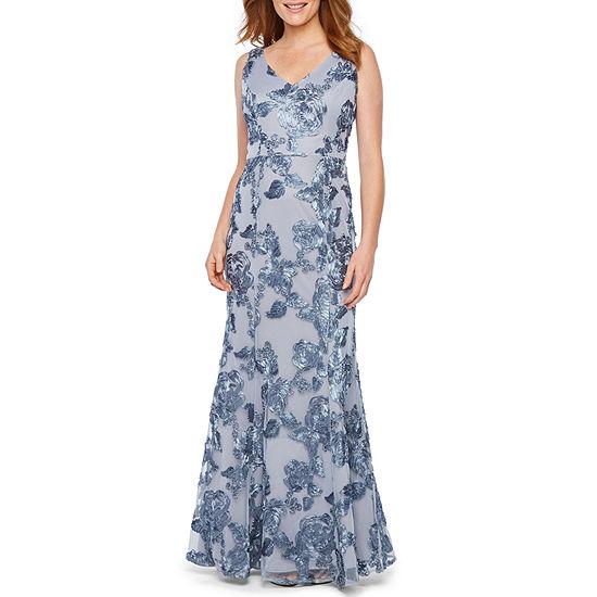 Blu Sage Sleeveless Floral Applique Evening Gown
