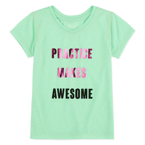 Okie Dokie Girls V Neck Short Sleeve Graphic T-Shirt-Toddler