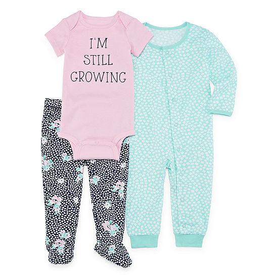 Okie Dokie 3-pc. Bodysuit Set-Baby Girls