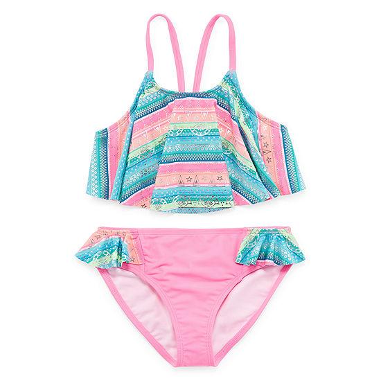 Arizona Girls Striped Bikini Set - Big Kid
