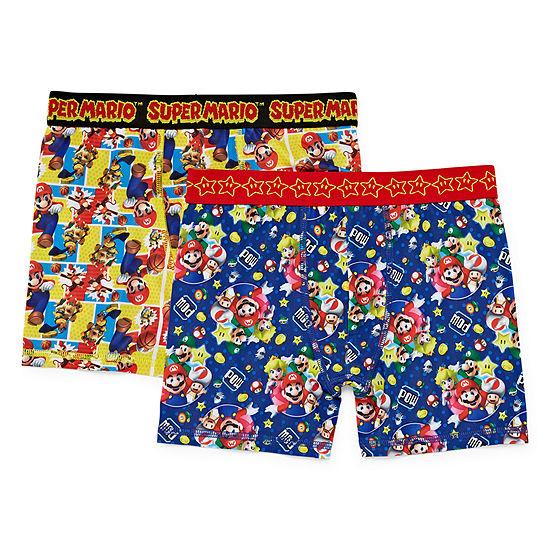 Super Mario Bros Boys 2 Pair Boxer Briefs