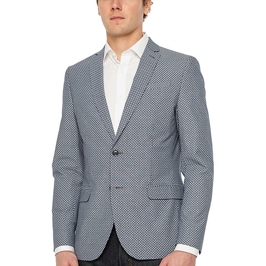 JF J.Ferrar Light Blue Flower Slim Fit Sport Coat