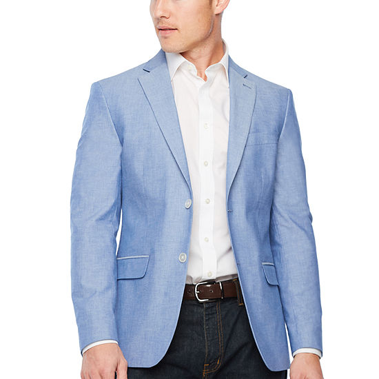 IZOD Mens Chambray Classic Fit Sport Coat