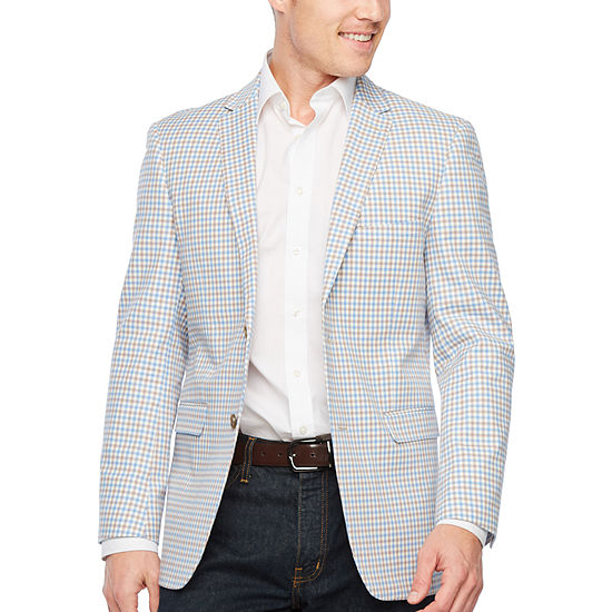 Us Polo Assn. Mens Tan Check Classic Fit Sport Coat