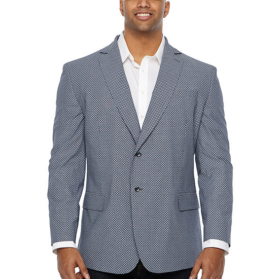 JF J.Ferrar Light Blue Flower Classic Fit Sport Coat - Big and Tall