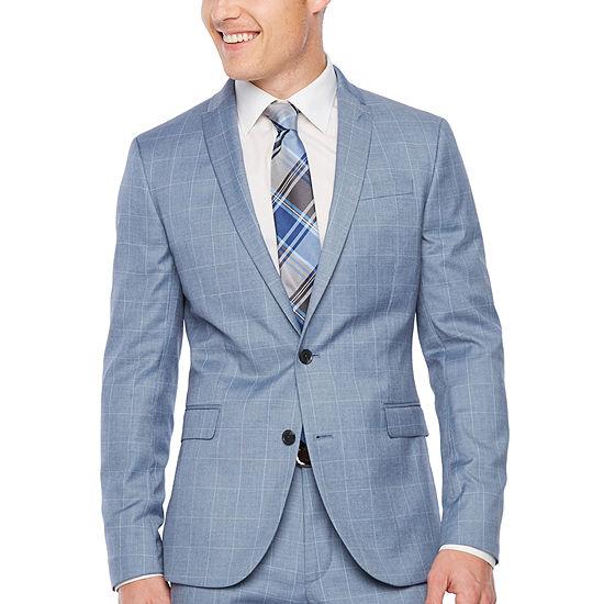 Jf Jferrar Windowpane Super Slim Fit Stretch Suit Jacket