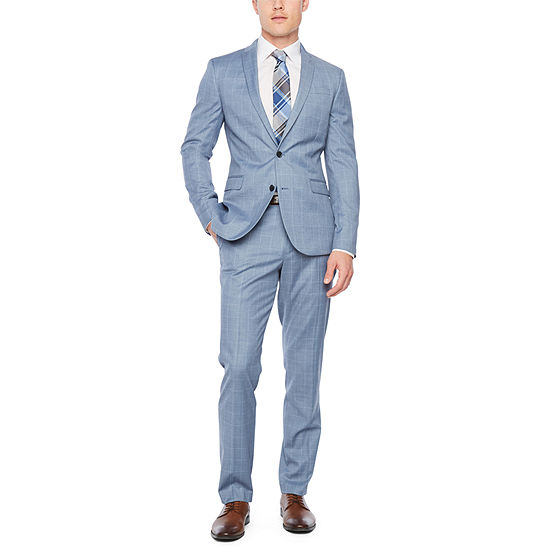 JF J.Ferrar Slate Blue Windowpane Super Slim Fit Suit Separates