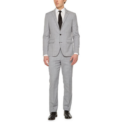JF J. Ferrar Gray Windowpane Slim Suit Separates