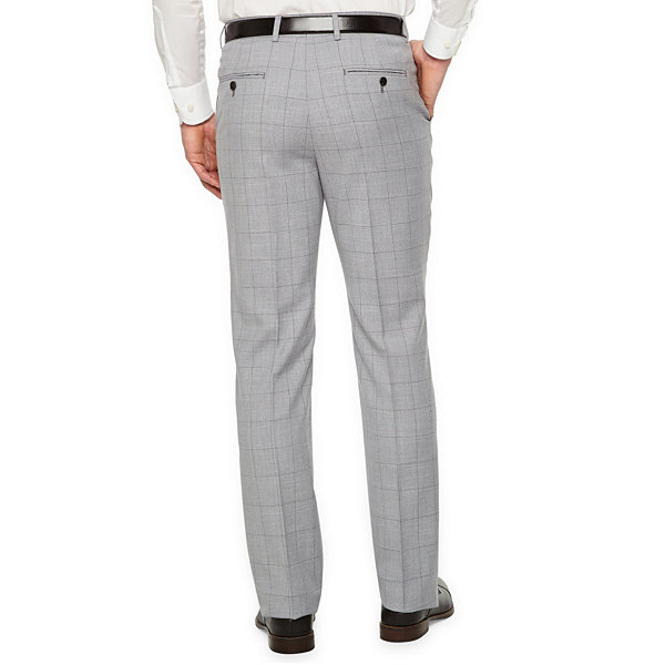 JF J.Ferrar Windowpane Slim Fit Stretch Suit Pants