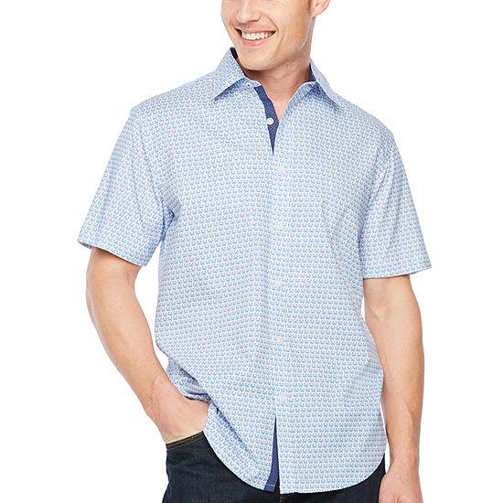 Society Of Threads Slim Fit Crab Print Hybrid Comfort Stretch Short Sleeve Shirt