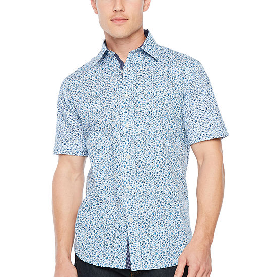Society Of Threads Slim Fit Micro Floral Print Hybrid Comfort Stretch Short Sleeve Shirt