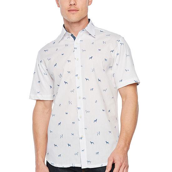 Society Of Threads Slim Fit Dog Print Hybrid Comfort Stretch Short Sleeve Shirt