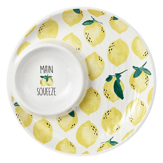 Outdoor Oasis Lemon Melamine Chip N' Dip Tray