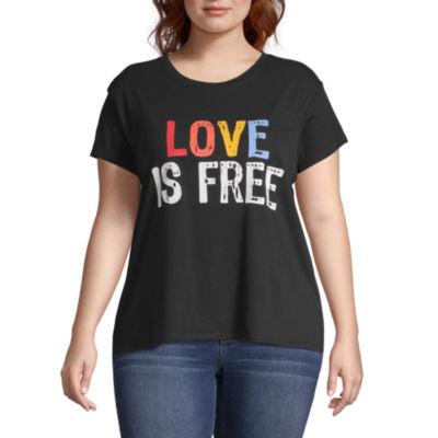 City Streets Womens Crew Neck Short Sleeve Graphic T-Shirt-Juniors Plus