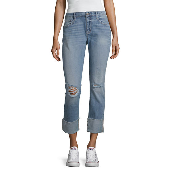 Arizona - Juniors Womens Mid Rise Cuffed Cropped Jean