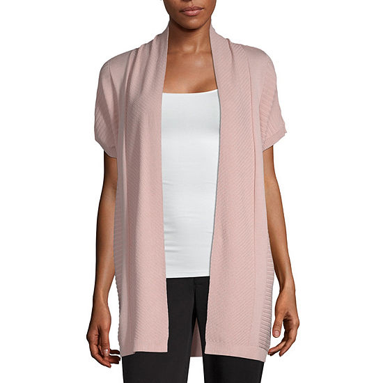 Studio Liz Claiborne Womens Short Sleeve Open Front Cardigan